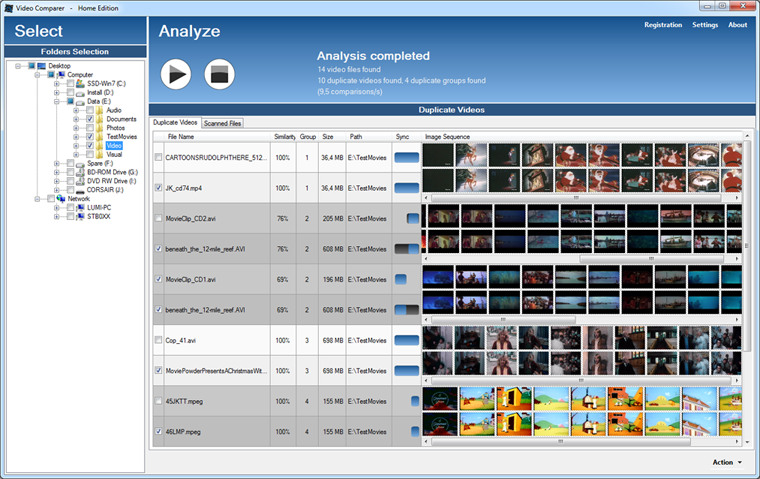 Video Comparer main window with synchronized timeline thumbnails and image similarity rate