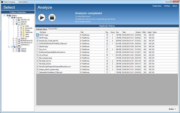 Video Comparer report of scanned files with video format and analysis status