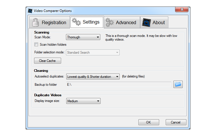 Video Comparer options settings window